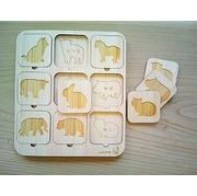 九州産 ヒノキの木製 どうぶつ 絵合わせ パズル